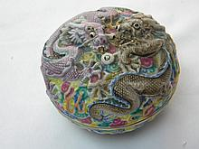 ANTIQUE CHINESE CARVED DRAGON PORCELAIN BOX QIAN LONG