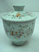 ANTIQUE CHINESE FAMILLE ROSE COVERED BOWL