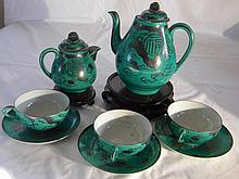 LOT OF ASIAN GREEN GLAZE PORCELAIN WITH DRAGON PHEONIX