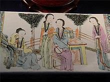 ANTIQUE CHINESE FAMILLE ROSE ENAMEL BEAUTY PILLOW QING