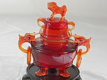 CHINESE AMBER COLOR INCENCE BURNER WITH DRAGON HANDELS