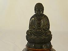 ANTIQUE ASIAN BRONZE BUDHHA ON LOTUS SEAT