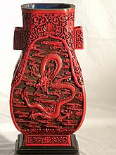 CHINESE CARVED CINNABAR DRAGON VASE