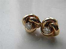 PAIR OF DIAMOND AND 14K GOLD EARRINGS JORDAN MARSH