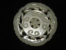 ANTIQUE CHINESE WHITE JADE WHEEL WITH MOVABLE CENTER