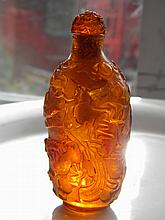 CHINESE AMBER SNUFF BOTTLE PHEONIX BAT