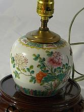 CHINESE ANTIQUE FAMILLE ROSE POT MADE INTO A LAMP