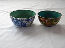 PAIR OF CHINESE ANTIQUE CLOISONNE BOWLS MARKED CHINA