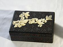 CHINESE BLACK CINNABAR BOX WITH IVORY INLAY
