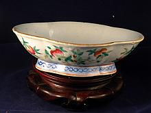 CHINESE ANTIQUE FAMILLE ROSE PEACH BOWL QING TONGZHI