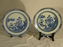 PAIR OF CHINESE ANTIQUE QIAN LONG BLUE AND WHITE DISHES