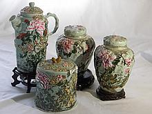 GROUP OF ASIAN CELADON TEA POT AND GINGER JARS