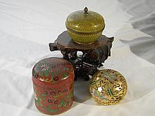 GROUP OF CHINESE ANTIQUE CLOISONNE ITEMS