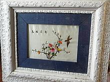 CHINESE FRAMED EMBROIDERY BIRD AND FLOWER