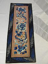 CHINESE EMBROIDERY TEXTILE BLUE FLOWERS