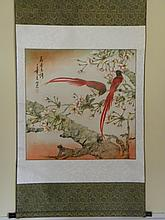 CHINESE SCROLL PAINTING BIRD AND FLOWERS