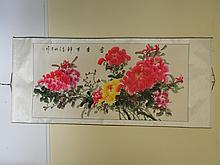 CHINESE SCROLL PAINTING FLOWERS