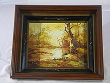 AMERICAN OR EUROPEAN OIL PAINTING ON CANVAS FRAMED