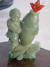 CHINESE ANTIQUE JADEITE BOY ON FISH SNUFF BOTTLE