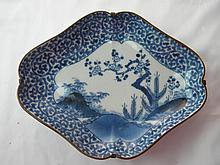 ANTIQUE ASIAN BLUE AND WHITE PLATE
