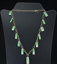 JADEITE JADE LION CHOP NECKLACE 14K GOLD