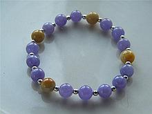 CHINESE NATURAL PURPLE YELLOW JADElTE JADE BEAD BRALET