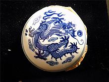 CHINESE BLUE AND WHITE DRAGON PORCELAIN BOX