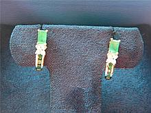 PAIR OF VINTAGE 14K YELLOW GOLD EMERALD EARRINS MARKED