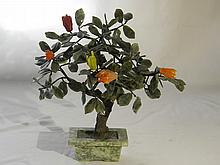 CHINESE ANTIQUE JADE TREE PLANTERS AND FRUITS