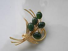 CHINESE GREEN NEPHRITE HETIAN JADE BROOCH PIN
