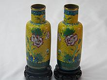 PAIR OF CHINESE ANTIQUE YELLOW CLOISONNE VASES
