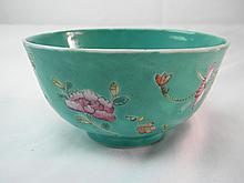 CHINESE ANTIQUE GREEN FAMMILE ROSE BOWL