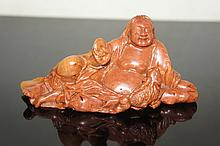 CHINESE ANTIQUE HARDSTONE STATUE QING