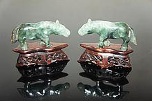PAIR OF CHINESE ANTIQUE JADEITE HORSES WITH WOOD STAND