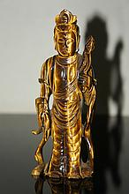 CHINESE ANTIQUE CARVED TIGER'S EYE KUANYIN STATUE QING