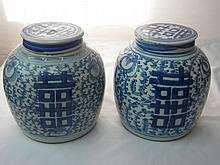 PAIR OF CHINESE ANTIQUE BLUE AND WHITE JARS QING