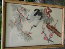 Vintage Chinese Embroidery on Silk Birds Framed