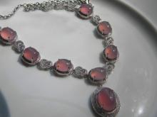 Natural Pink Stone Silver Necklace