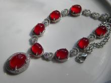 Natural Red Stone Silver Necklace