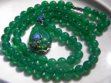 Natural Green Stone Necklace with Silver Pendant
