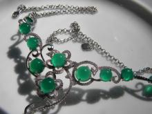 Natural Green Stone Silver Necklace