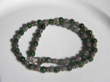 Green Nephrite Jade and silver Necklace