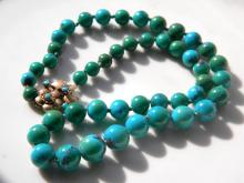 Vintage Antique American Turquoise Bead Necklace 14K