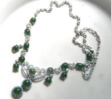 Natural Green Jadeite Silver Necklace