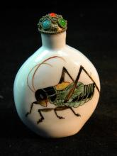 Antique Chinese Grass Hopper Snuff Bottle, size: 2.75