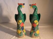 PAIR OF CHINESE EXPORT ENAMEL PHEONIX