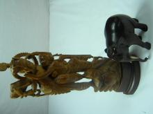 Two Antique Rosewood Carved Statues