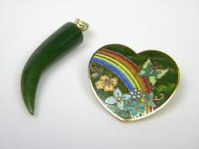 Antique Chinese Nephrite Green Pepper Pendant