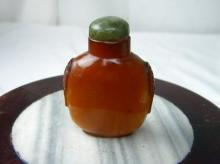 ANTIQUE CHINESE SNUFF BOTTLE WITH JADE STOPPER