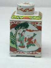 ANTIQUE CHINESE WUCAI TEA CADDY, SHOWS FLOWER PATTERN AND PEOPLE SCENE
